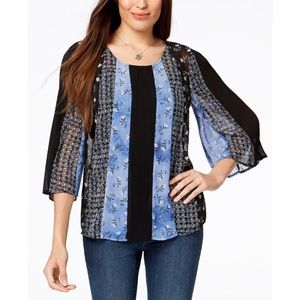 Women's Style and Co Mixed Media Print Top